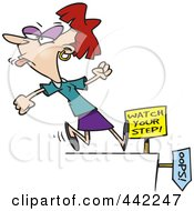 Royalty Free RF Clip Art Illustration Of A Cartoon Woman Sticking Her Tongue Out And Approaching A Cliff