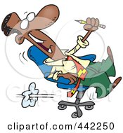 Royalty Free RF Clip Art Illustration Of A Cartoon Black Businessman Playing In A Chair