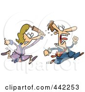 Royalty Free RF Clip Art Illustration Of A Cartoon Woman Chasing Her Husband With A Rolling Pin