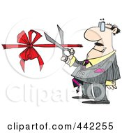 Royalty Free RF Clip Art Illustration Of A Cartoon Businessman Performing A Ribbon Cutting Ceremony