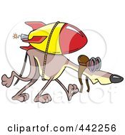 Royalty Free RF Clip Art Illustration Of A Cartoon Rocket Strapped To A Greyhound by toonaday