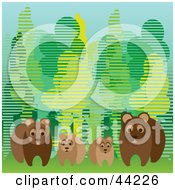 Clipart Illustration Of A Family Of Four Wild Bears At The Edge Of A Forest