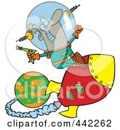 Royalty Free RF Clip Art Illustration Of A Cartoon Space Man Riding A Rocket by toonaday