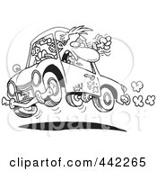 Cartoon Black And White Outline Design Of A Male Driver With Road Rage