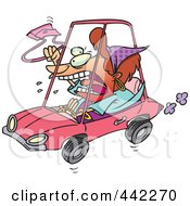 Cartoon Female Driver With Road Rage