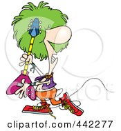 Royalty Free RF Clip Art Illustration Of A Cartoon Rocker Playing A Guitar by toonaday