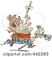 Royalty Free RF Clip Art Illustration Of A Cartoon Cowboy Shooting A Gun And Riding A Stick Pony by toonaday