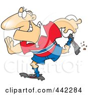 Cartoon Rugby Football Player Running