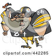 Royalty Free RF Clip Art Illustration Of A Cartoon Big Footballer Eating An Opponent