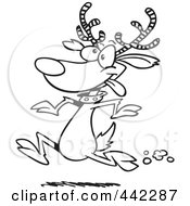 Royalty Free RF Clip Art Illustration Of A Cartoon Black And White Outline Design Of A Reindeer Running by toonaday