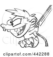 Royalty Free RF Clip Art Illustration Of A Cartoon Black And White Outline Design Of A Boy On A Rope Swing