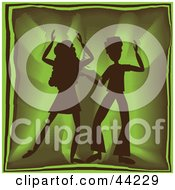 Clipart Illustration Of A Silhouetted Dancing Couple Grooving At A Green Party