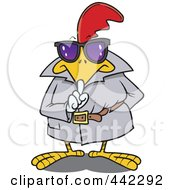 Royalty Free RF Clip Art Illustration Of A Cartoon Secretive Rooster by Ron Leishman