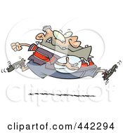 Royalty Free RF Clip Art Illustration Of A Cartoon Fat Rugby Football Player Running by toonaday