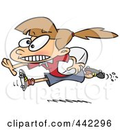 Royalty Free RF Clip Art Illustration Of A Cartoon Rugby Girl Running With A Ball