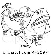 Royalty Free RF Clip Art Illustration Of A Cartoon Black And White Outline Design Of A Big Footballer Eating An Opponent