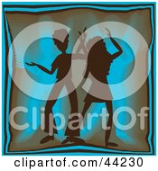 Silhouetted Dancing Couple Grooving At A Blue Party