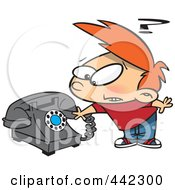 Royalty Free RF Clip Art Illustration Of A Cartoon Boy Trying To Use A Rotary Phone