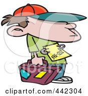 Cartoon Runaway Boy With Luggage