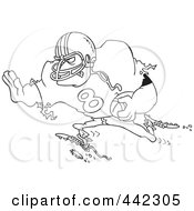 Royalty Free RF Clip Art Illustration Of A Cartoon Black And White Outline Design Of A Running Footballer