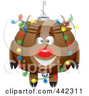 Royalty Free RF Clip Art Illustration Of A Cartoon Black And White Outline Design Of A Rudolph Ornament by toonaday