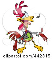 Royalty Free RF Clip Art Illustration Of A Cartoon Singing Rooster by Ron Leishman