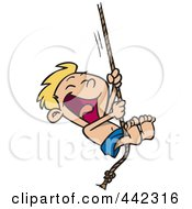 Royalty Free RF Clip Art Illustration Of A Cartoon Summer Boy On A Rope Swing