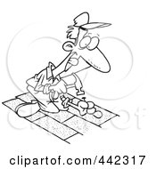 Cartoon Black And White Outline Design Of A Roofer Nailing Shingles