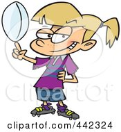 Royalty Free RF Clip Art Illustration Of A Cartoon Girl Spinning A Rugby Ball