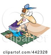 Royalty Free RF Clip Art Illustration Of A Cartoon Roofer Nailing Shingles