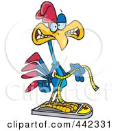 Royalty Free RF Clip Art Illustration Of A Cartoon Rooster Measuring And Weighing Himself