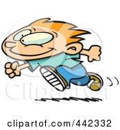 Royalty Free RF Clip Art Illustration Of A Cartoon Running Boy