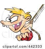 Royalty Free RF Clip Art Illustration Of A Cartoon Boy On A Rope Swing