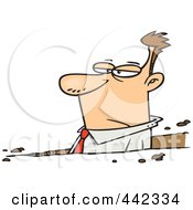 Royalty Free RF Clip Art Illustration Of A Cartoon Businessman Stuck In A Rut