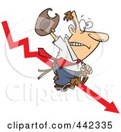 Royalty Free RF Clip Art Illustration Of A Cartoon Businessman Riding A Downwards Arrow Like A Cowboy by toonaday