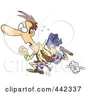 Royalty Free RF Clip Art Illustration Of A Cartoon Businessman Rushing