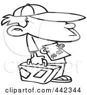 Cartoon Black And White Outline Design Of A Runaway Boy With Luggage