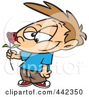 Royalty Free RF Clip Art Illustration Of A Cartoon Boy Holding A Red Rose