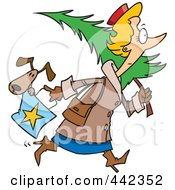 Cartoon Woman Carrying A Dog In Her Purse And A Christmas Tree