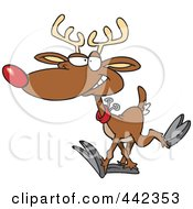 Royalty Free RF Clip Art Illustration Of A Cartoon Reindeer Walking by toonaday