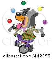 Royalty Free RF Clip Art Illustration Of A Cartoon Juggling Rottweiler On A Unicycle