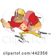 Royalty Free RF Clip Art Illustration Of A Cartoon Running Footballer by toonaday