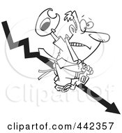 Royalty Free RF Clip Art Illustration Of A Cartoon Black And White Outline Design Of A Businessman Riding A Downwards Arrow Like A Cowboy