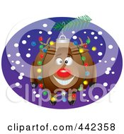 Royalty Free RF Clip Art Illustration Of A Cartoon Black And White Outline Design Of A Rudolph Bauble by toonaday