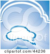 Clipart Illustration Of A Website Background Of A Blue Cloud Thought Balloon In A Sky by kaycee