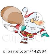 Royalty Free RF Clip Art Illustration Of A Cartoon Rushed Santa