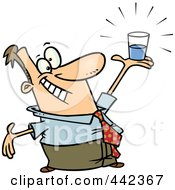 Royalty Free RF Clip Art Illustration Of A Cartoon Businessman Holding A Glass Half Full