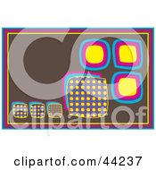 Clipart Illustration Of A Brown Retro Website Background Of Colorful Boxes by kaycee