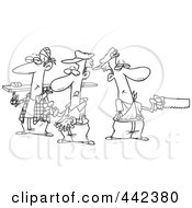 Royalty Free RF Clip Art Illustration Of A Cartoon Black And White Outline Design Of A Team Of Three Accident Prone Handy Men by toonaday
