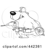 Royalty Free RF Clip Art Illustration Of A Cartoon Black And White Outline Design Of A Handy Bear With Tools by toonaday